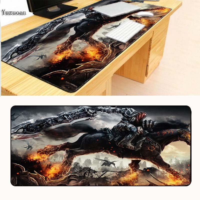 Yuzuoan Black Horse Office Mice Gamer Soft Large Mouse Pad With Locking Edge For desktop And Laptop Computer For CSGO DOTA LOL