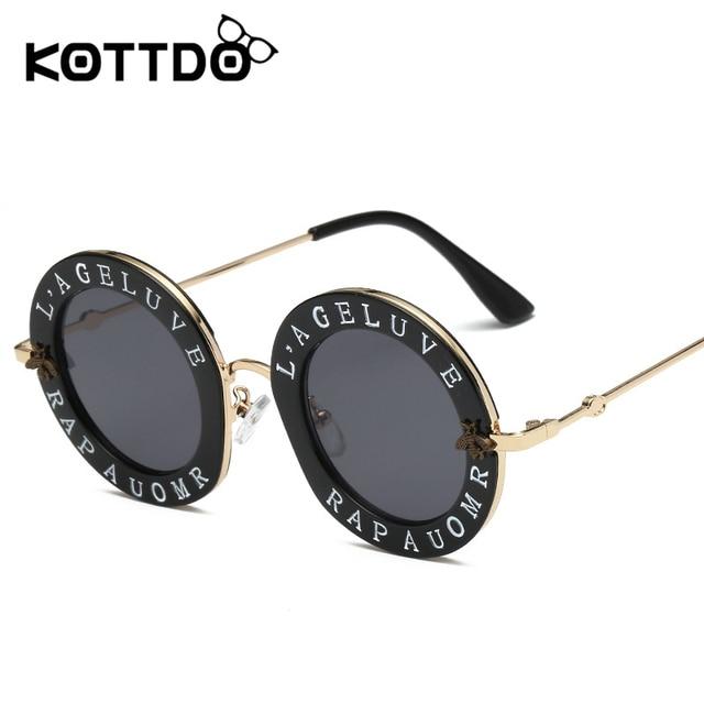 f25e11995d KOTTDO 2018 New Arrival Women Men Round Fashion Sunglasses Retro Female  Male Sun Glasses Frame UV400 Sunglasses Vintage Eyewear