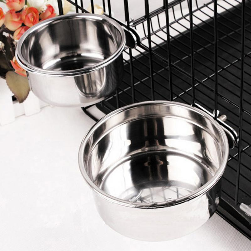 Stainless Steel  Heat-Resistant Pets Pot Silver Color Stainless Steel Hang Type Dog Bowl Pet Food or Water Bowl Dish