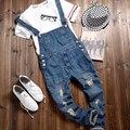 Spirng Otoño Moda Hombres Ripped Agujero Vintage Denim Buzos, ocasional Otoño de los pantalones Vaqueros Con Estilo Destruido Bib Pantalones Para Hombre