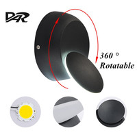 DAR 5W Led Wall Lamps 360 Degrees Rotation Adjustable Bedside Light Black White Wall Sconce Modern