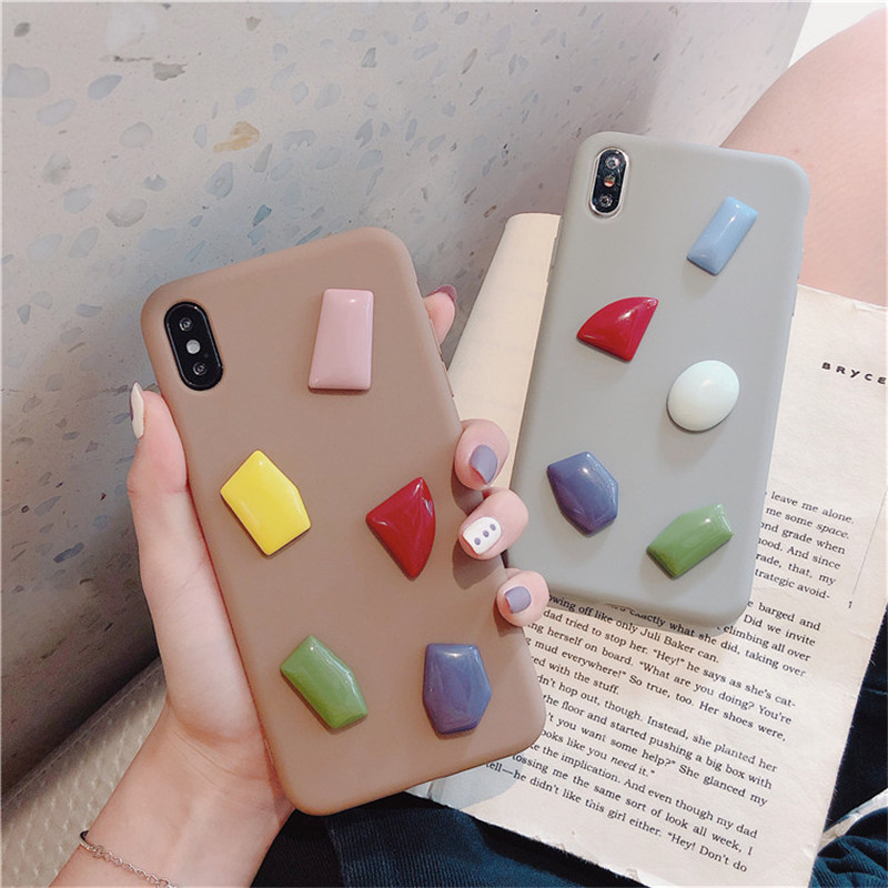 3D Emboss Rhombus Stone Case For iPhone X XS MAX XR Simple Soft Phone Cases for iphone 7 8 6 6S Plus TPU Silicone Cover