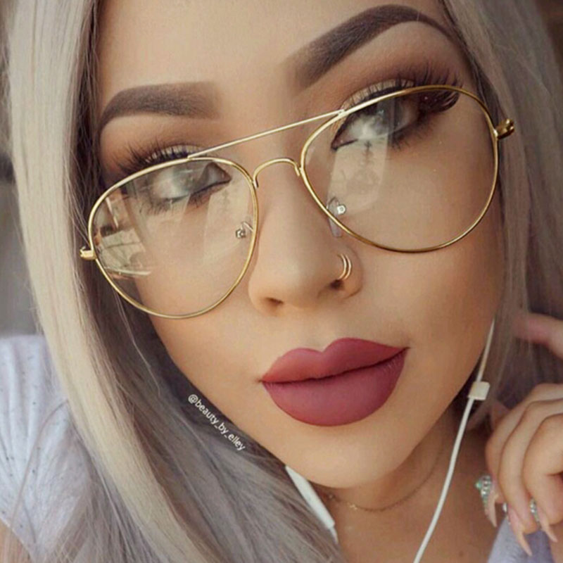 VictoryLip 2017 Hot Classic Clear lens Women Men Mirror Sunglasses Brand Designer Fashion Optics transparent Sun Glasses Cheap