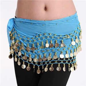 נשים 3 שורות בטן ריקוד חגורת ריקודי בטן היפ צעיף לעטוף ריקודי בטן חגורת שרשרת עם 128 זהב מטבעות למבוגרים