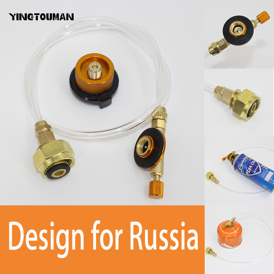YINGTOUMAN Campingkomfur Propane Refill Adapter Gasbrænder LPG Flat Cylinder Tank Coupler Flaske Adapter Safe Save for Russia