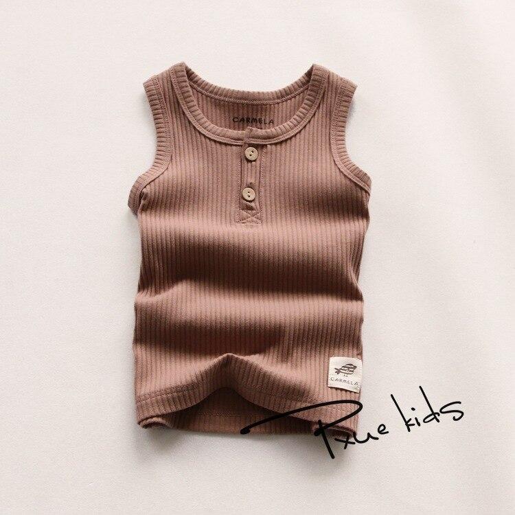 e7b382c06a Nueva llegada del verano fresco niño marca chaleco niños algodón casual sin  mangas Camiseta cómoda Camisas lindo Niños Niñas deporte chalecos