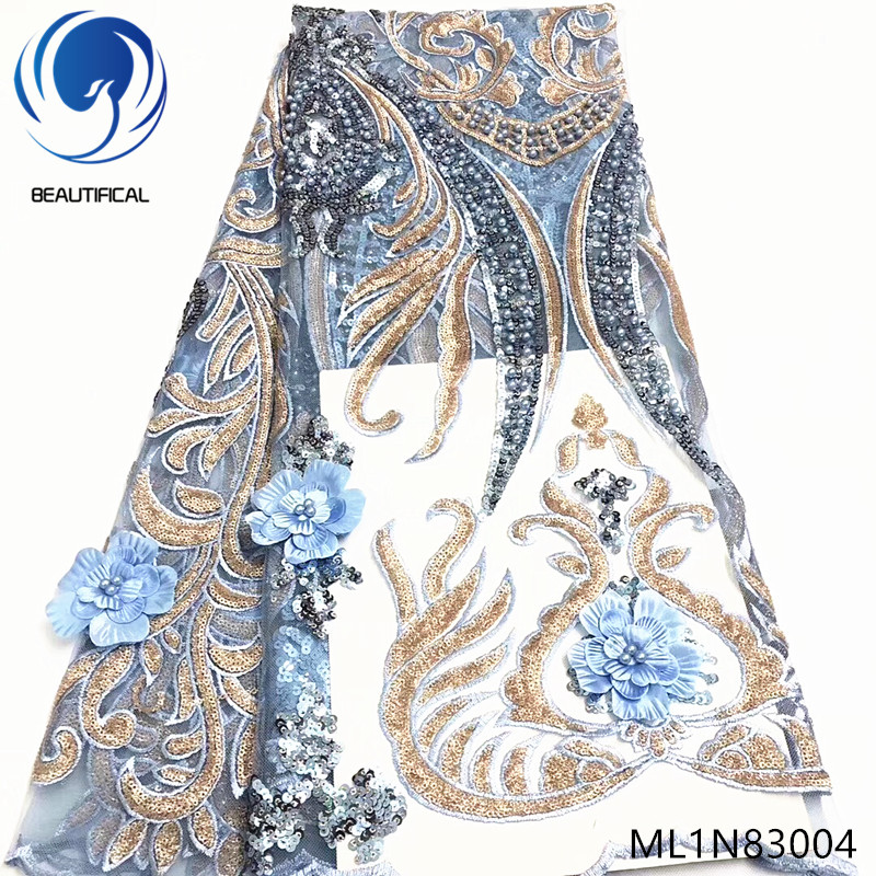 Beautifical african lace fabrics 2019 New embroidery sequins net lace fabric 5yards 3d flowers lace fabric with beads ML1N830Beautifical african lace fabrics 2019 New embroidery sequins net lace fabric 5yards 3d flowers lace fabric with beads ML1N830