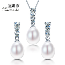 Dainashi New arrival bridal women geometric natural freshwater pearl jewelry set with 925 sterling silver high quality jewelry