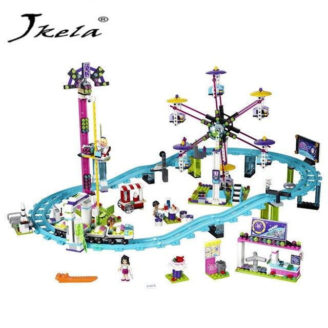 [Jkela]Friends Amusement Park Roller Coaster Building Blocks Classic For Girl Kids Model Toy Compatible with Legoingly Friends amusement park large particle building