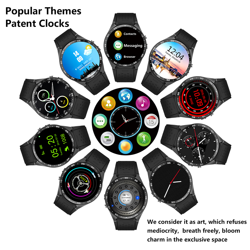 2016 New Smarcent Universal KW88 3G WIFI GPS smart watch Android 5 1 SOS MTK6580 CPU