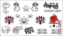 (Min Order $0.5) Waterproof Temporary Tattoo Tatoo Henna Fake Flash Tattoo Stickers Taty Tatto Elephant And Lotus WM251