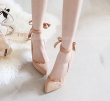 Women Pumps Pointed Toe Leather High Heeled Shoes Bowtie Bandage Small 32 33 Formal Dress Shoe