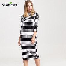 ac872221ce5 Зеленое домашнее зимнее платье для беременных с длинным рукавом в полоску
