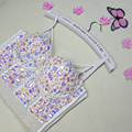New High Quality Handmade Sexy Women Crystal Rhinestone Embroidered  Bra Top Jeweled Beaded Bra Pearl Bridal Bustier Cropped Top