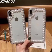 XINGDUO Bling Jewelled luxury Pearl phone shell Transparent For Huawei P smart 2019/Y9 2019 2018/NOVA 3 3i/mate 10 pro/mate