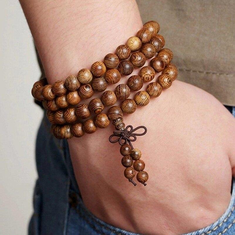Image 5 - Tibetan Religion Buddhism Natural Brown Wenge Wood Wooden 108  Beads 4 Layers Bracelets Prayer Bead Rosary For Celebrity  BelieverHologram Bracelets