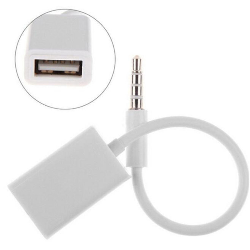 Mosunx  3.5mm Male AUX Audio Plug Jack To USB 2.0 Female Converter Cable Cord Car MP3 Gift Feb 5 Drop Ship