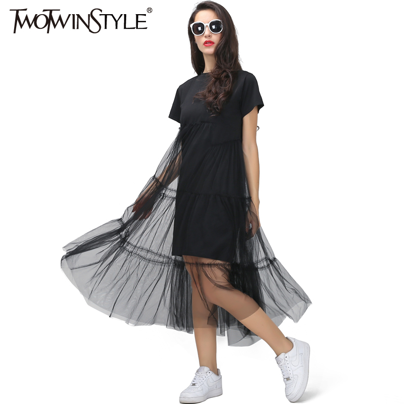 TWOTWINSTYLE Summer Korean Splicing Pleated Tulle T shirt Dress Women Big Size Black Gray Color Clothes New Fashion 2017
