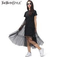 Twotwinstyle الصيف الكورية الربط مطوي تول تي شيرت اللباس نساء حجم كبير أسود رمادي اللون ملابس الموضة 2017