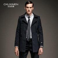 Ckliximen марка 2017 однобортный мужчины ветровка британский стиль мужская мода длинные пальто шанца черный синий большой размер 4xl