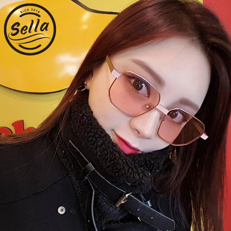 Sella New Arrival Fashion Women Men Small Square Tint Lens Sunglasses Retro Trending Pink Color Lens Rectangle Glasses Eyewear