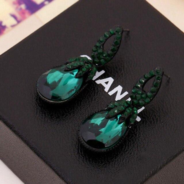 Лидер продаж цинковый сплав женский черный Винтаж коренастый кулон Висячие серьги темно зеленый камень для женщин