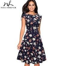 Nice forever Elegant Vintage Floral Printed Party vestidos Cap Sleeve A Line Female Flare Swing Women Dress btyA067