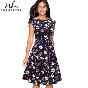 Image 1 - Nice forever Elegant Vintage Floral Printed Party vestidos Cap Sleeve A Line Female Flare Swing Women Dress btyA067