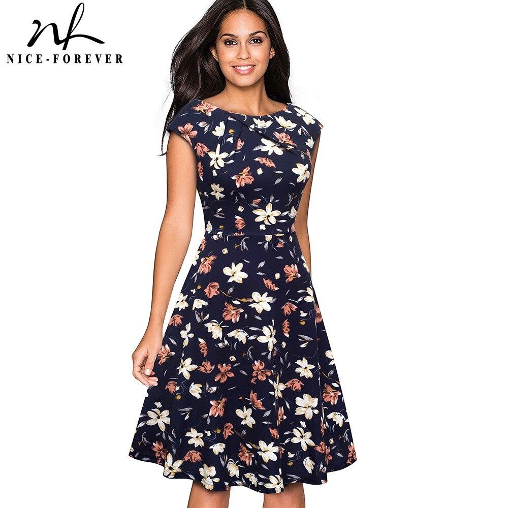 Женское платье Nice forever, винтажное платье с цветочным принтом и рукавами крылышками, btyA067Платья   -
