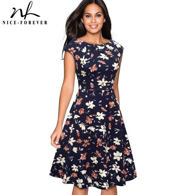 Nice robe de soirée Vintage, imprimé Floral, élégante, manche Cap, forme trapèze, évasée, btyA067