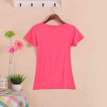 Solid Color Short Sleeve Women's Fashion Cotton V-neck T-shirt