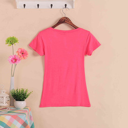 2019 Hot Sale Stretch Summer New Women T Shirts Ms Solid Color Short Sleeve tshirt Women's Fashion Cotton V-neck T-shirt W00622 3