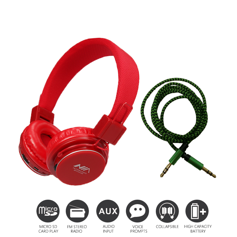 Economic Set: Original NIA 8820 + AUX Cable a Set Multifunctional Headphone mp3 player with FM SD Card slot economic set original nia 8809s 8 gb micro sd card a set wireless headphone sport for tv with fm