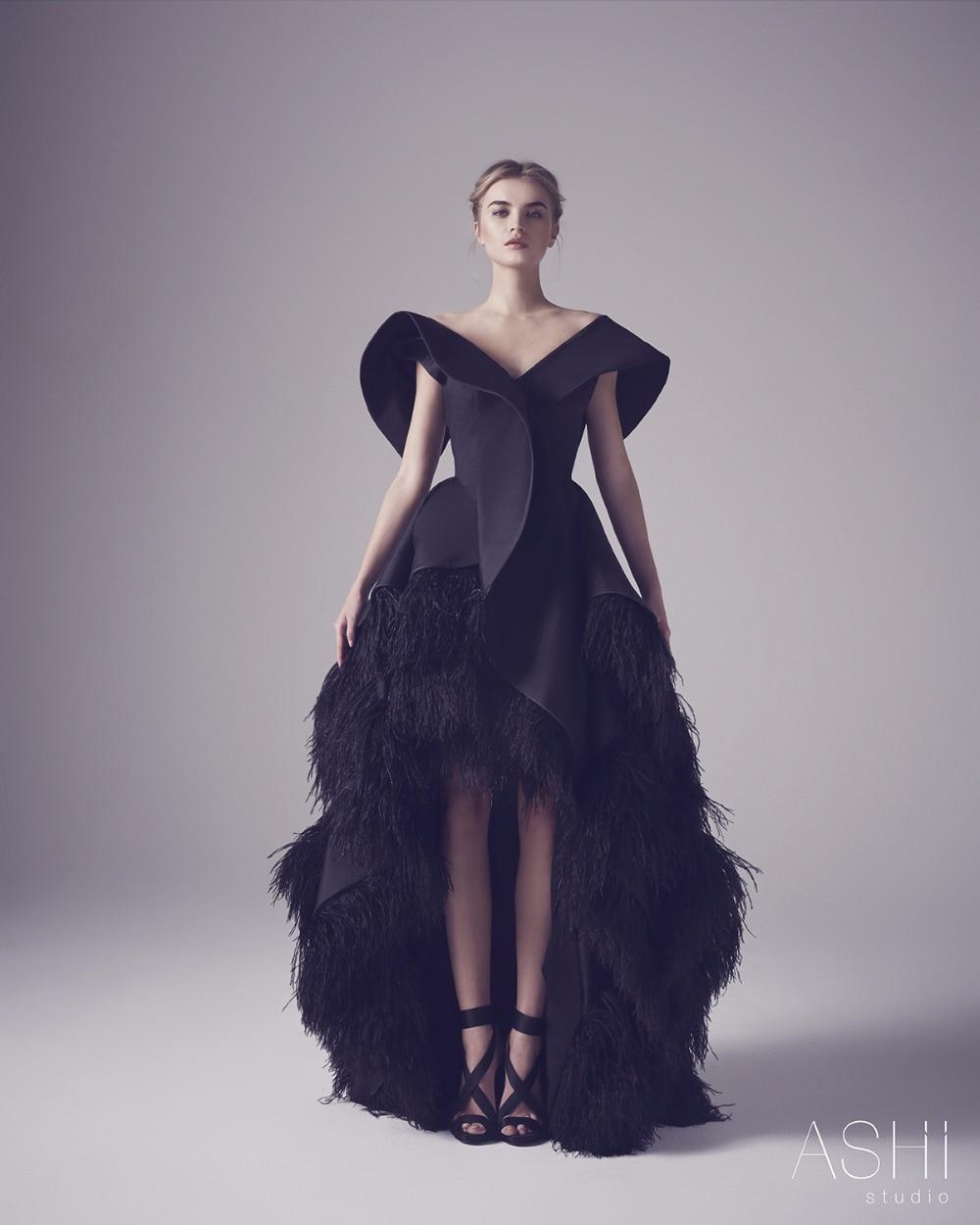 2016 high quality ashi studio feather evening dress high low v neck ...