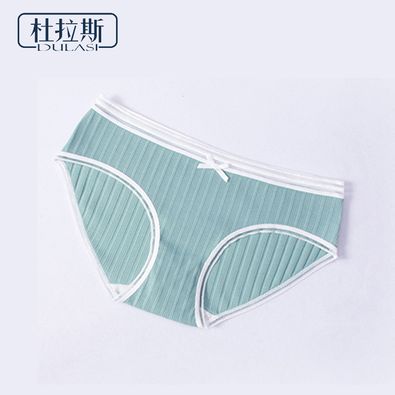 Cotton Bow   Panties   Women Underwear Striped Briefs Breathable for Girls   Panty   Lady Mid-Waist Seamless Warm Underpants DULASI