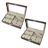 6 Slot Men Watch Glasses Box Leather Display Case Organizer Jewelry Storage Box
