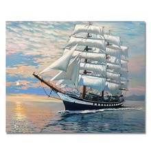 WONZOM Seascape Paint By Numbers Sailboat Oil Painting On Canvas With Frame Home Decor Wall Art For Living Room Acrylic