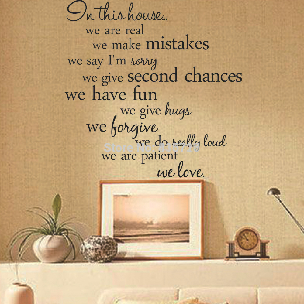 Removable Romantic Warm House Rules English Proverb Wall Stickers ...