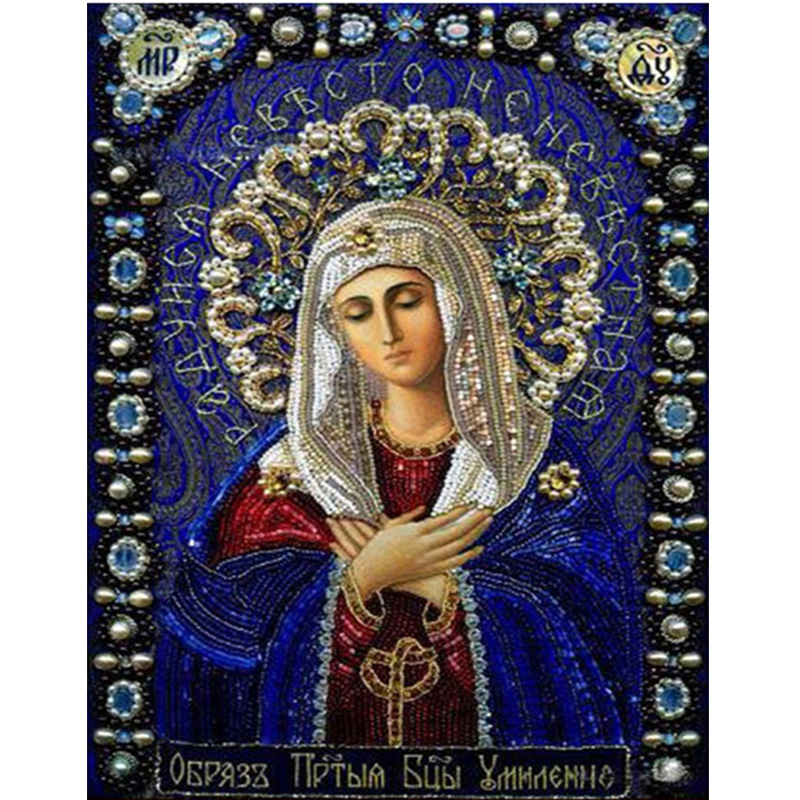 Diy Diamond Painting Cross Stitch Religion Icon of Maria Diamond Mosaic Needlework Crafts Round diamond embroidery religion Lady