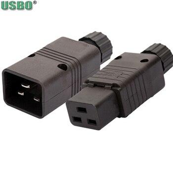 цена на Black 16A CE Copper IEC320 C19 C20 UPS PDU Power Rewirable Connector 3P Assemble Wire Receptacle Male Female Convert Socket Plug