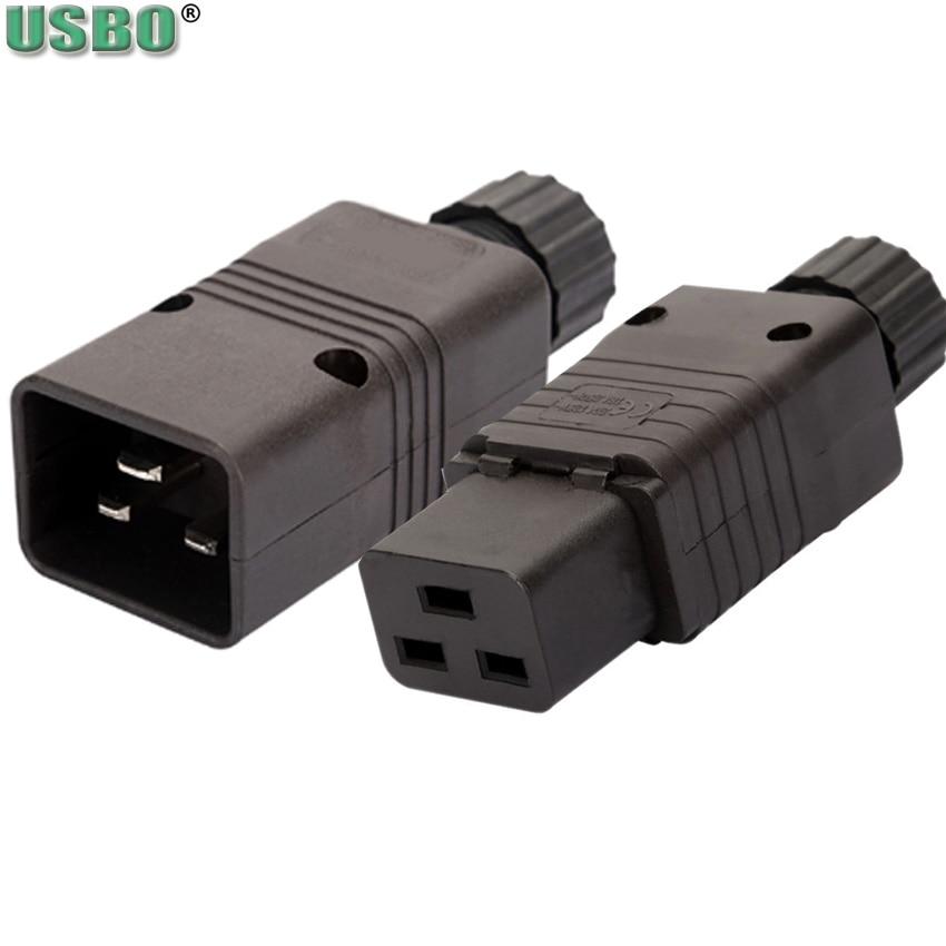 Black 16A CE Copper IEC320 C19 C20 UPS PDU Power Rewirable Connector 3P Assemble Wire Receptacle Male Female Convert Socket Plug