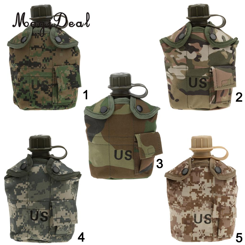 MagiDeal Outdoor 5Color 1L Military Camping Army Water Bottle Canteen Cup Pouch for Camping Hiking Desert Survival Climbing Acce
