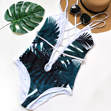 Sexy Deep Plunge Tropical Palm Leaf Trikini Bathing Suit Monokini Mesh Plus Size Swimwear Women One Piece High Waist Swimsuit