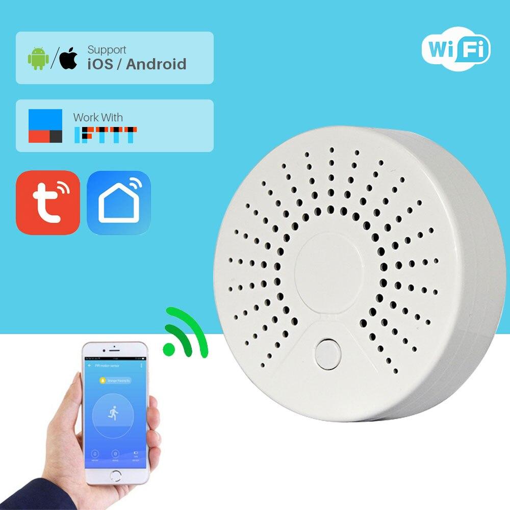 Smart WIFI Fire Smoke Temperature Sensor for TUYA Smart Home Video Alarm Kit Support Wifi with Free SmartLife TUYA Smart APP Sensor & Detector     - title=