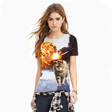 2016 New Women s T shirts Vintage t shirt War Cat 3D Print Casual Girls Tees