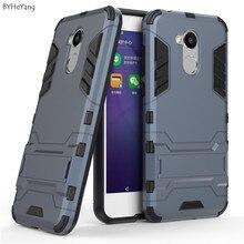 BYHeYang Kılıfları Huawei Onur Için 6A telefon kılıfı 2in1 Standı Tutucu TPU & PC Sert Silikon Çift Zırh Kapak Onur 6A koruyucu ...
