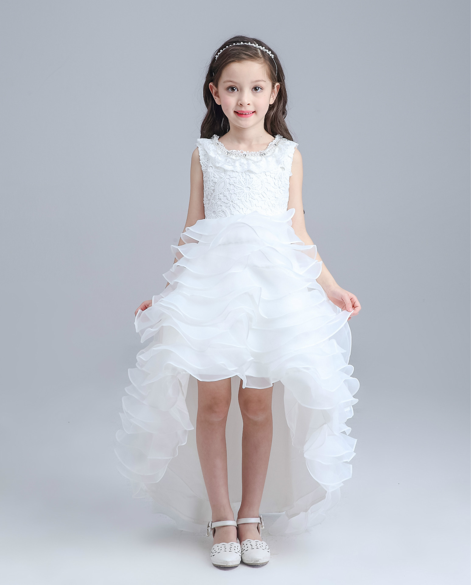 Latest Red Tailed Children Dress Girls Short Front Long Back Wedding ...