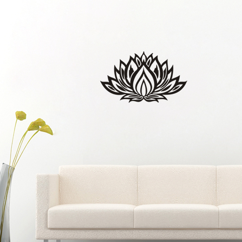 2016 creative black lotus flower stickers cheap buddhism - Cheap wall decals for living room ...
