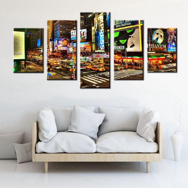 Modern Home Decoration 5 Panels Wall Art Painting City Night Broadway  Street Picture Print On Canvas