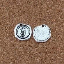 20Pcs/lots Letter G Alphabet Initial alloy Charms Pendants Fashion DIY Accessories Antique Silver 18x18.5MM A-467